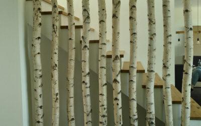 Treppengestaltung mit Birkenstämmen