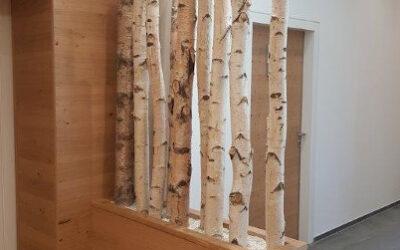 Trennwand aus Birkenholz eingefasst in Holzsockel