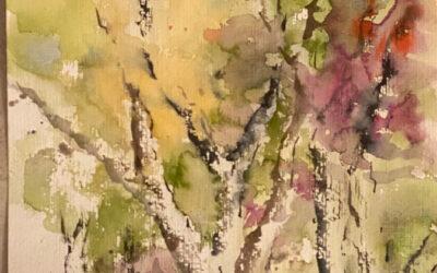 Aquarellbild mit Birkenstämmen